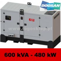 FDG 600 DS - moc ( 570 kVA = 456 kW ) - agregaty prądotwórcze fogo, model FDG600DS kod FD600ACG